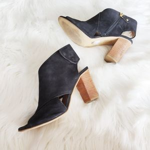 Ateliers black suede open toe ankle booties